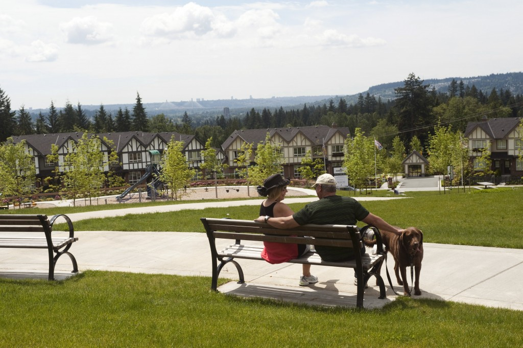 Sitting on a bench at Galloway Park in Coquitlam